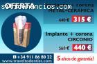 Implante dental + corona por solo 315 €