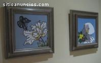 Lote de dos cuadros sobre azulejo
