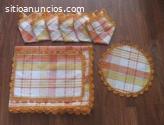 Mantel de cuadros amarillo y naranja