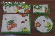 Mantel estampado de frutas rematado