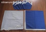 Manteles redondos con servilletas