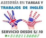 ASESORÍA TRABAJOS DE INGLÉS DESDE S/.10