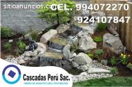 estanques con cascadas, fuentes, piletas